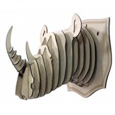Cabeça de Rinoceronte Escultura 3D - MDF