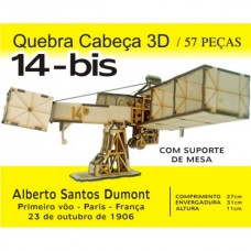 14 Bis - Quebra-cabeça 3D em MDF - Laser